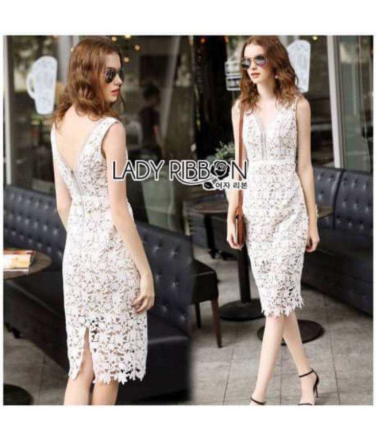 Floral White Lace Bodycon Dress
