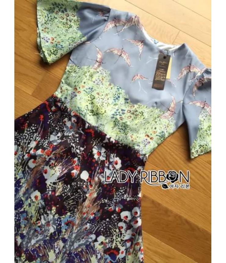 Printed Bell Sleeves Skater Dress