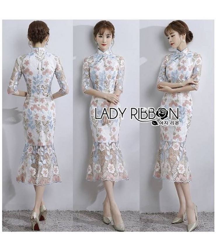 Japanese Doll Embroidered Midi Dress