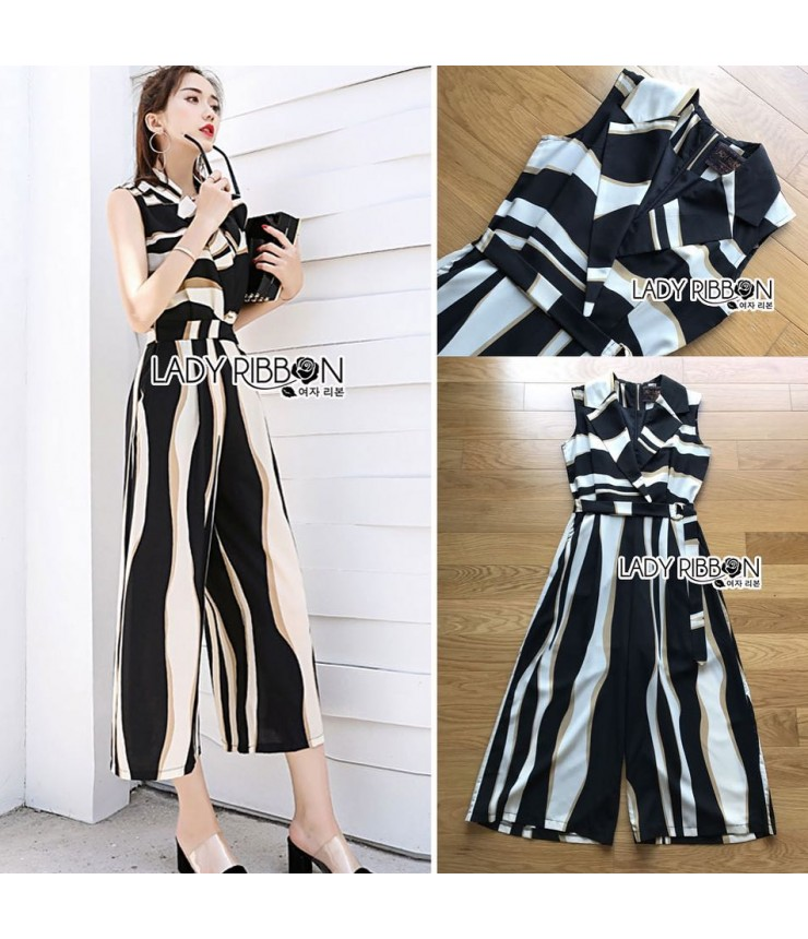 Add Grace Stripy Collar Jumpsuit