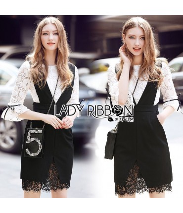 Bell Sleeve Black & White Lace Set
