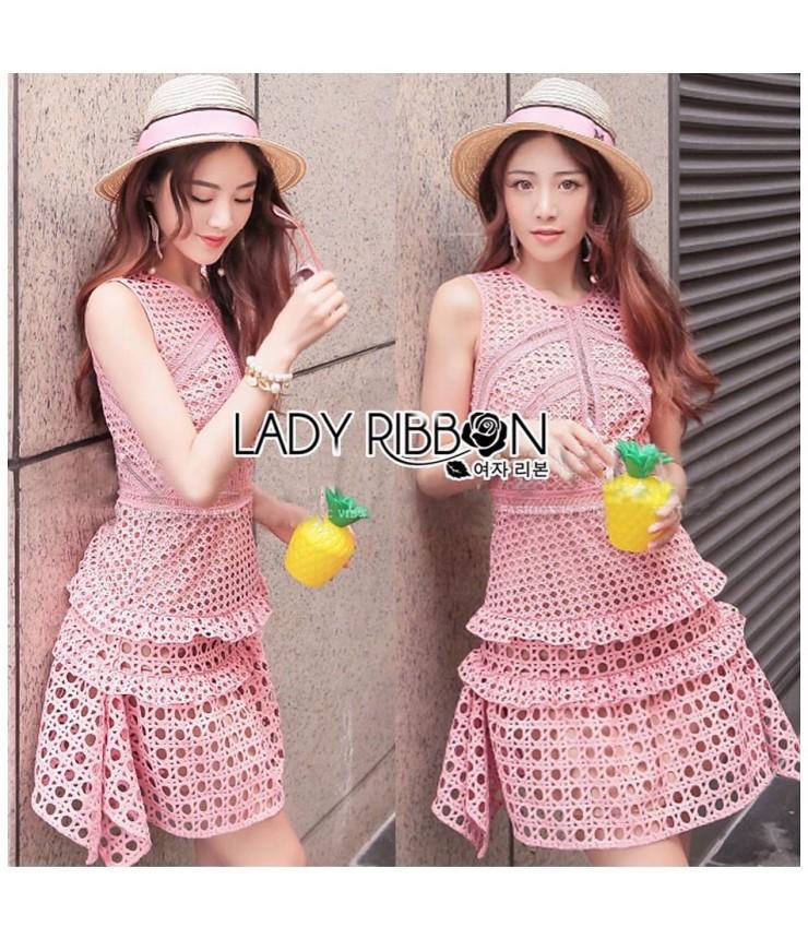 Hola Hola Peach Crochet Dress