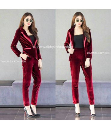 Burgundy Business Velvet Suit