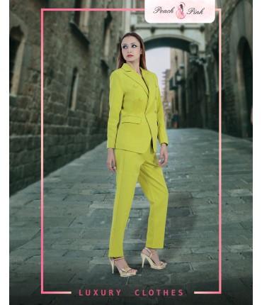 Neon Lime Blazer And Pants Set