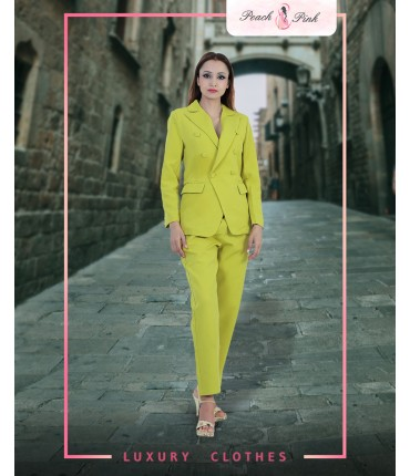 Neon Lime Blazer And Pants Set