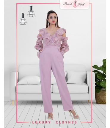 Lilac Cold Shoulder Jumpsuit