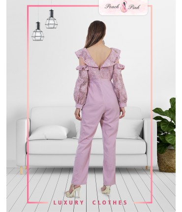Lilac Cold Shoulder Jumpsuit