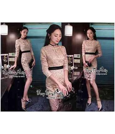 Dream Draped Golden Lace Dress