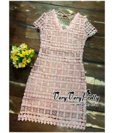 Elegant Peach V-Neck Lace Dress