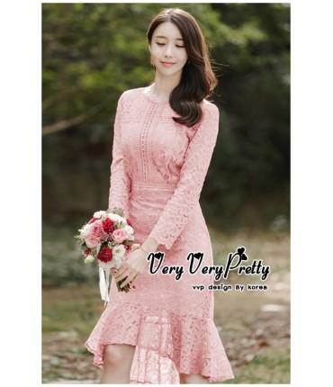 Sweet Charm Pink Crochet Dress