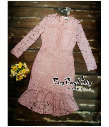 Sweet Charm Pink Crochet Dress