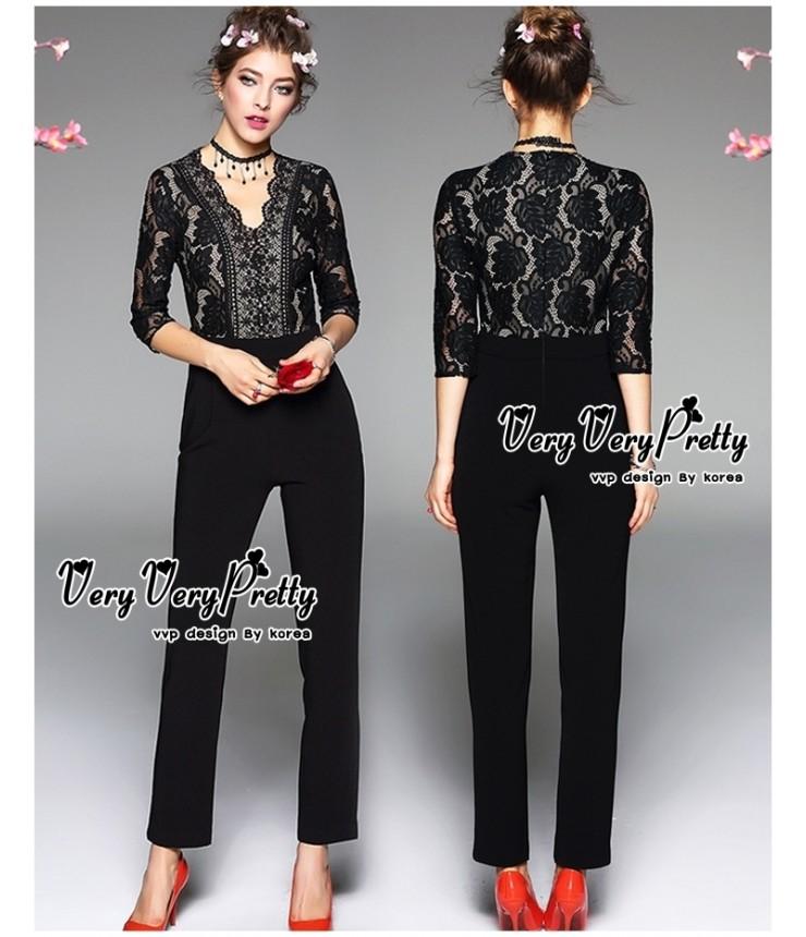 Fleur Lace Black Jumpsuit