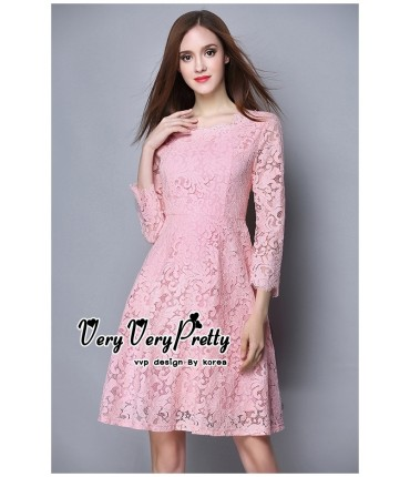 Elegant Blush Pink Lacey Dress