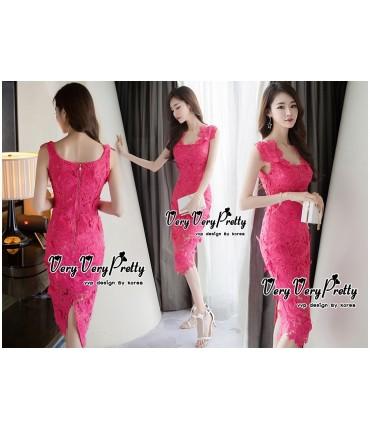 Hot Pink Crochet Bodycon Dress