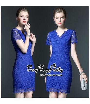 Cocktail Bold Blue Bodycon Dress