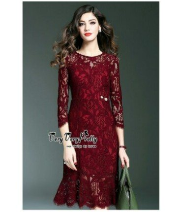 The Pretty Lady Maroon Midi Dress