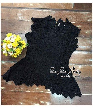 Black Chandelier Lacey Peplum Top