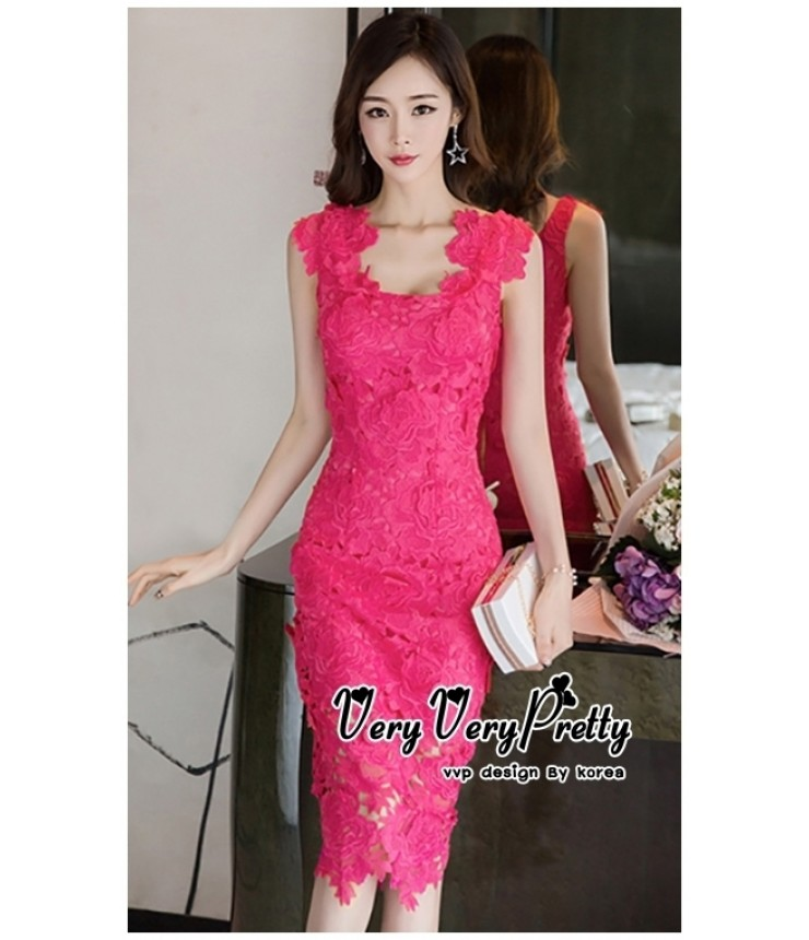 Hot Pink Crochet Bodycon Dress