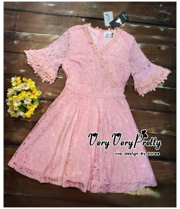 Ruffled Sleeves Pink Skater Dress