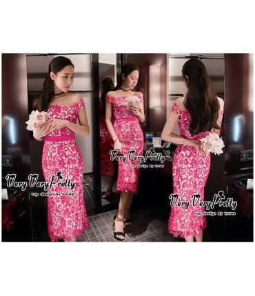 Beauty in Pink Lace Bardot Dress
