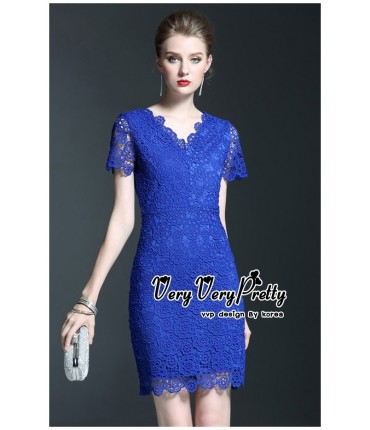 Cocktail Bold Blue Bodycon Dress