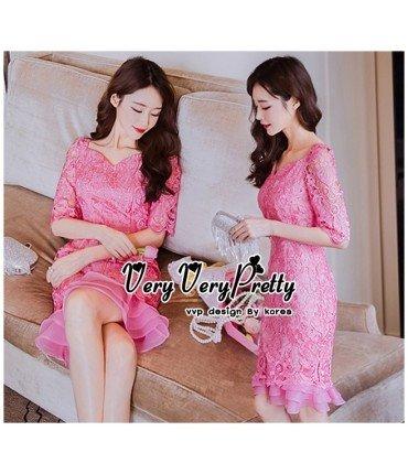Crochet Pink Frill Bodycon Dress