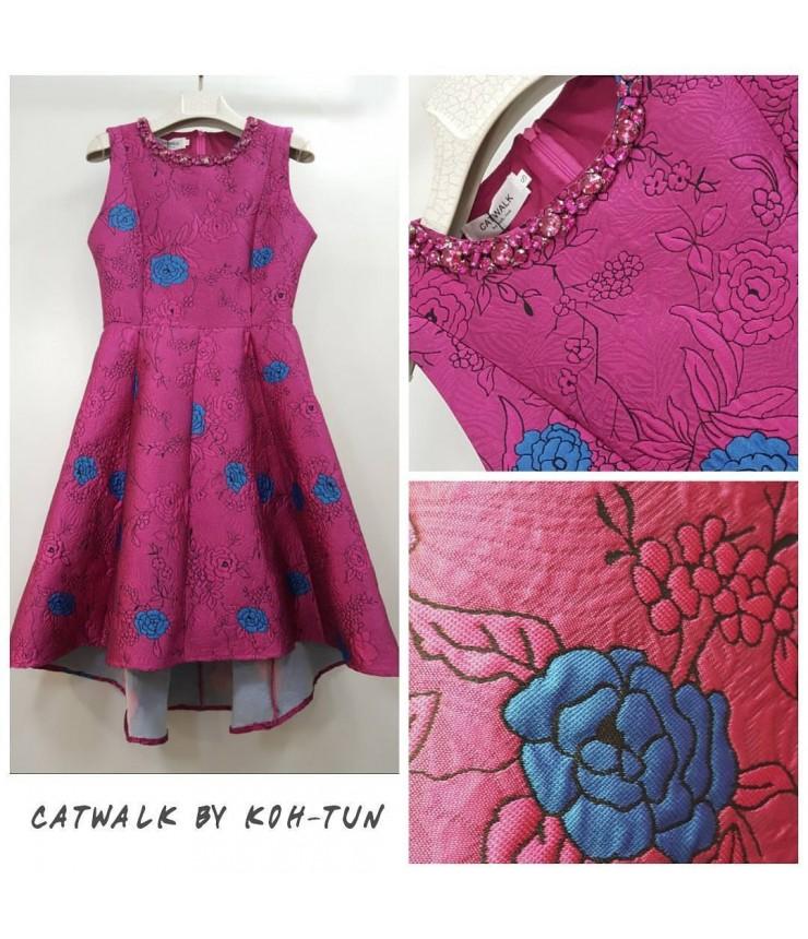Pink Floral classic skater Dress