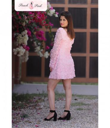 3D Flower Baby Pink Barbie Mini Dress