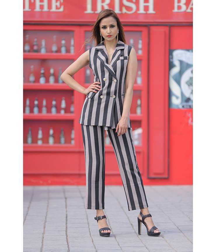 Be Buzzworthy  Striped Formal CoOrd Set