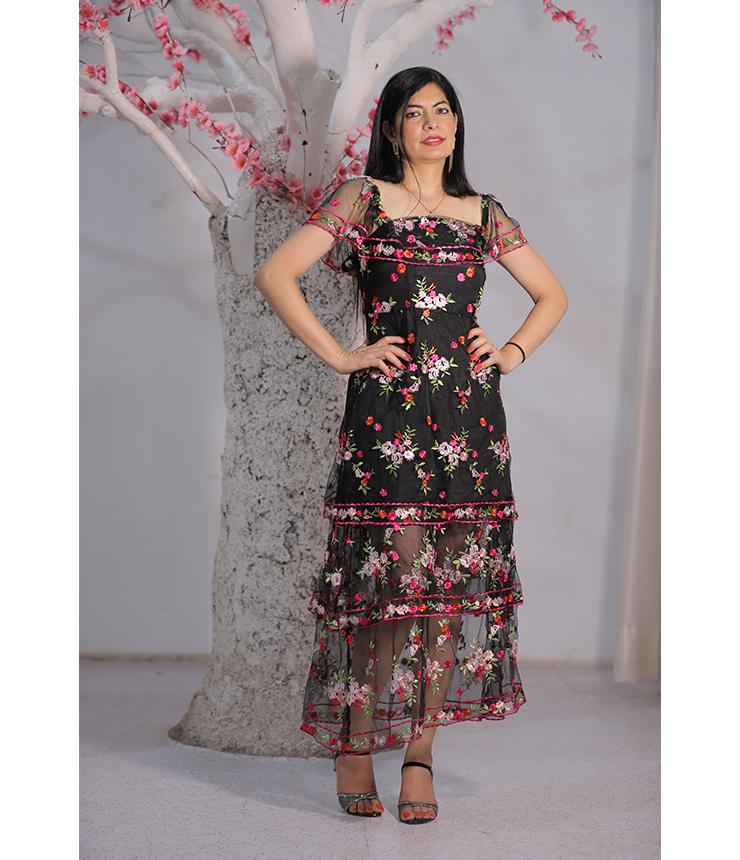 Retro chick Red Black Floral Dress