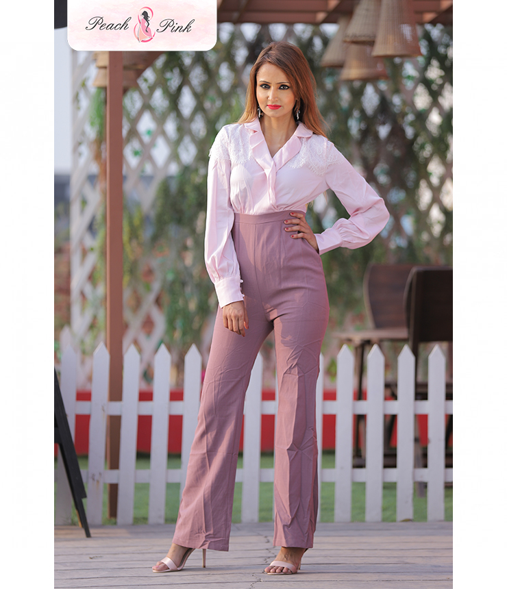 Pretty in Pink Bishop sleeve Jumpsuit