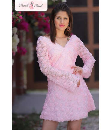 3D Flower Baby Pink Barbie Mini Dress