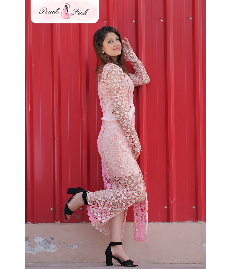Cutout Crochet pale pink Maxi dress