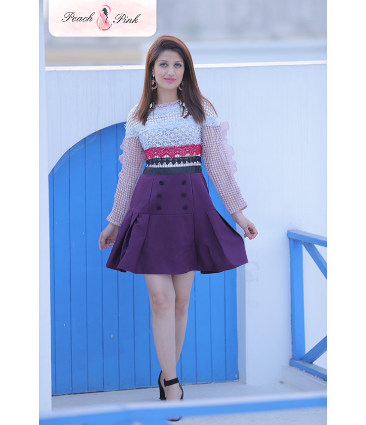 Multicolor Puff Sleeved perfect Skater Dress