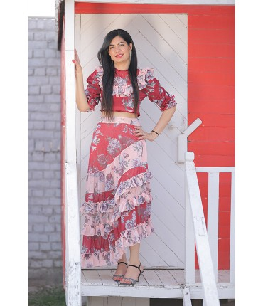 Glazed eyes Asymmetric flared Floral Co-Ord Set
