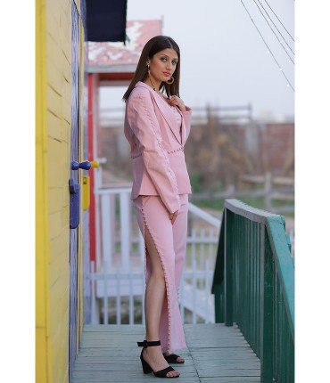Jazz it up Pink Blazer and tape button pants Set