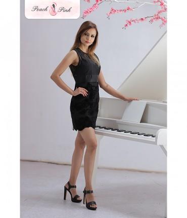 Dazzling Pekaboo Black Short Dress