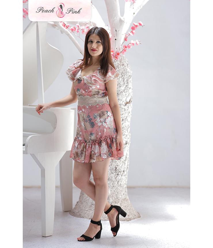 Blush Pink Ruffled Floral Summer Dress