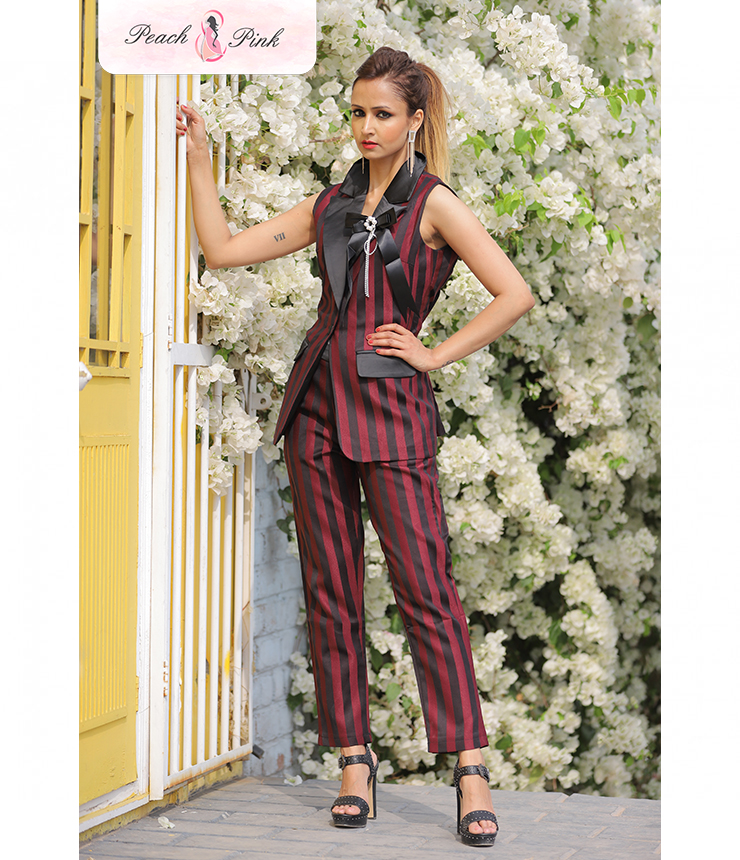 All things sassy Slim fit Red Striped Party Jumpsuit
