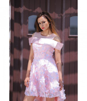 Runway Style Off-Shoulder Floral Dress
