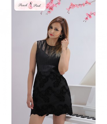 Dazzling Pekaboo Black Short Dress