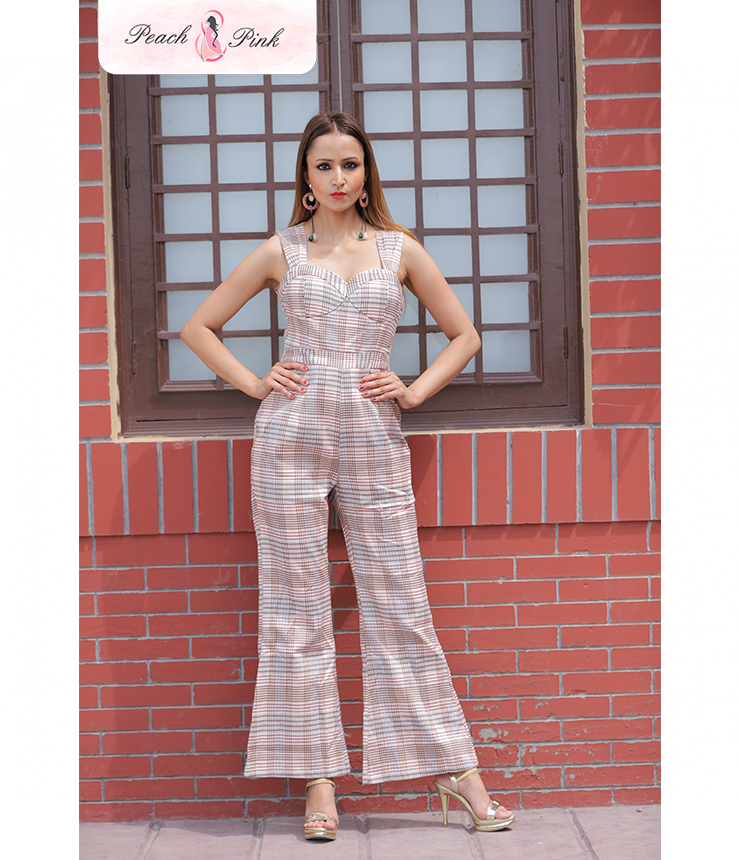 Millenial Corset style Check Jumpsuit