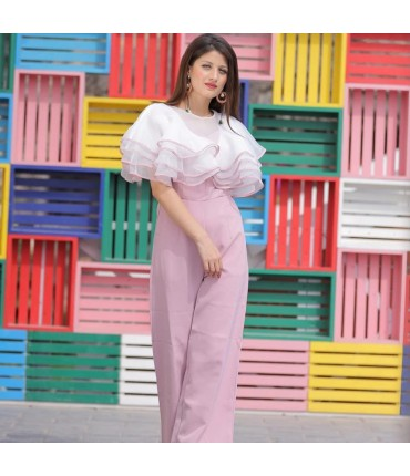Too cool to handle White Pink Ultraposh Jumpsuit