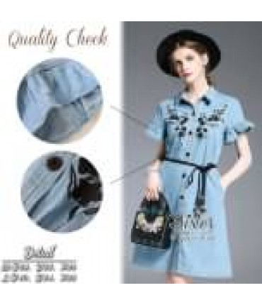 Light Blue Front Button Dress