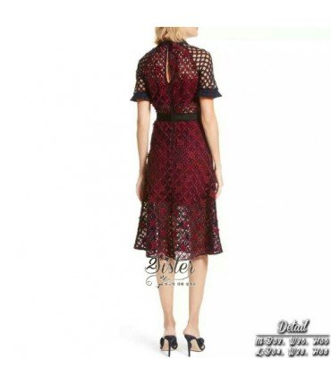 Vintage Maroon & Black Midi Dress