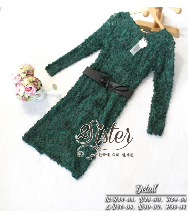 Dark Green Flower Bodycon Dress