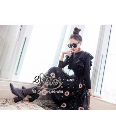 Bold & Black Floral Netting Dress