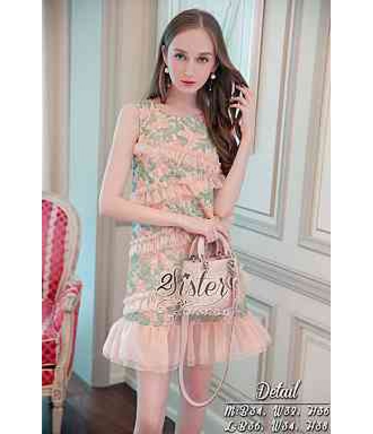 Girly Peach & Green Frill Dress