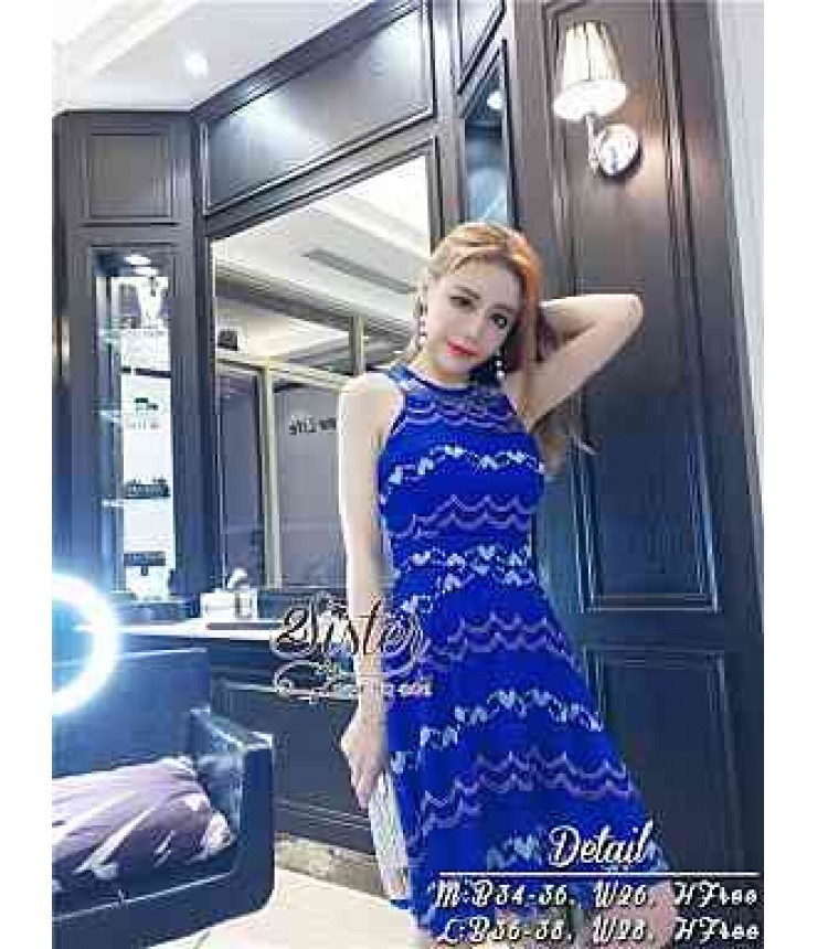 Sassy Blue Self Patterned Dress