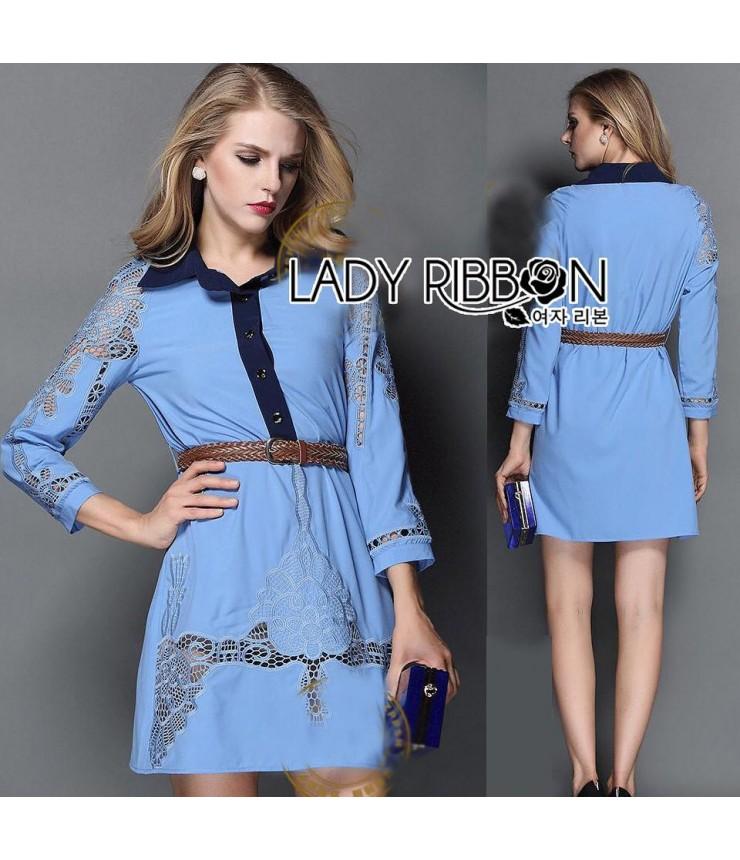 Formal & Classy Blue Shirt Dress